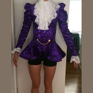 Pants - Prince Style Purple Sequin Jacket Romper Costume